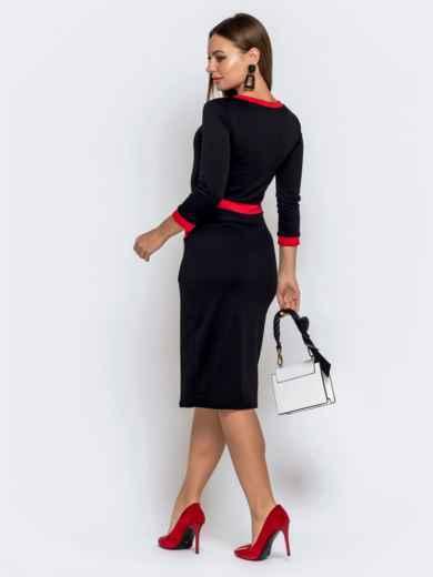 Чёрное платье с контрастной окантовкой и карманами 40570, фото 2