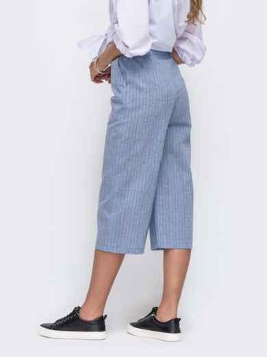 Льняные брюки-кюлоты в полоску голубые 50040, фото 2