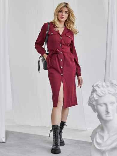 Льняное платье-рубашка бордового цвета со шлевками на рукавах 50072, фото 2