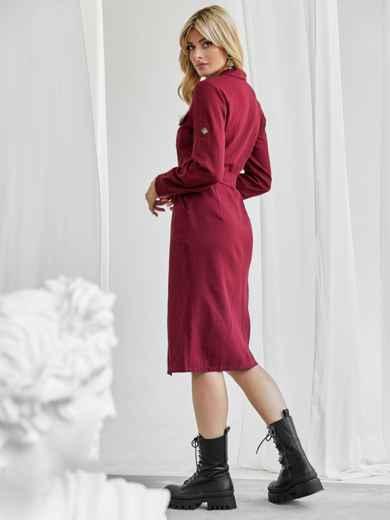 Льняное платье-рубашка бордового цвета со шлевками на рукавах 50072, фото 3