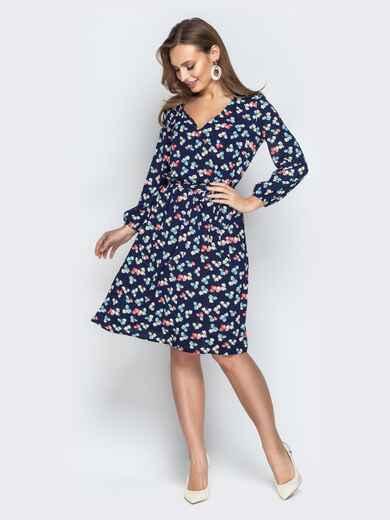 Принтованное платье на фиксированный запах тёмно-синее 20989, фото 1