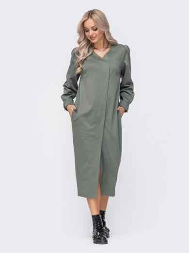 Свободное платье с зауженным низом хаки 50069, фото 4