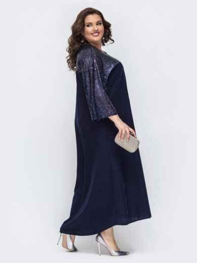 Тёмно-синее платье со вставками из пайеток 43205, фото 2