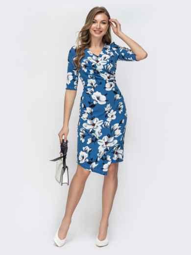 Голубое платье с цветочным принтом 45535, фото 1