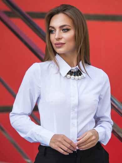 Классическая блузка из софта на пуговицах 14073, фото 1