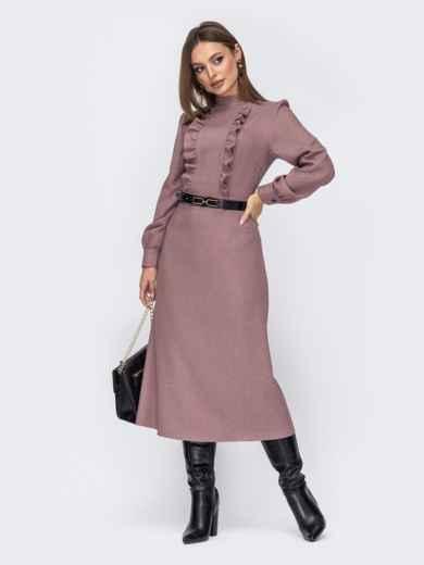 Пудровое платье с оборками по полочке и юбкой-трапецией 52542, фото 1