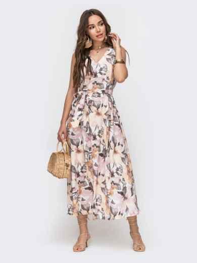 Белое платье с цветочным принтом и V-вырезом 49342, фото 2