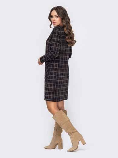 Коричневое платье прямого кроя в клетку 50828, фото 2