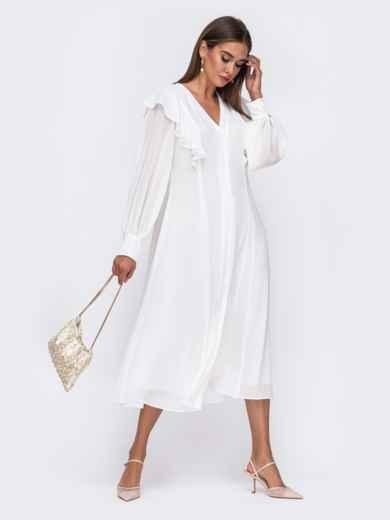 Романтичное платье-миди приталенного силуэта белого цвета  50112, фото 1