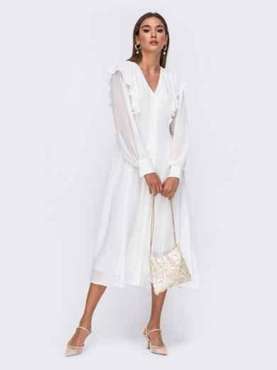 Романтичное платье-миди приталенного силуэта белого цвета  50112, фото 2