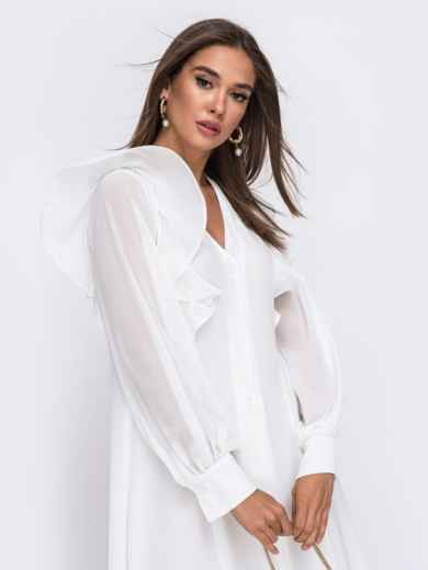 Романтичное платье-миди приталенного силуэта белого цвета  50112, фото 4