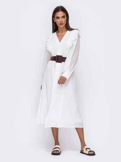 Романтичное платье-миди приталенного силуэта белого цвета  50112, фото 5