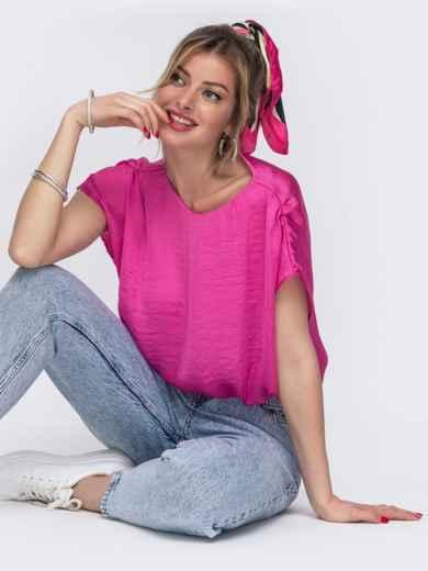Розовая блузка свободного кроя с резинкой по низу 48427, фото 1
