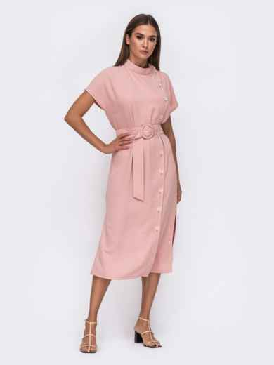Розовое платье с цельнокроеным рукавом и воротником-стойкой 50115, фото 1