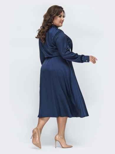 Шелковое платье батал с воротником-аскот тёмно-синее 45395, фото 3