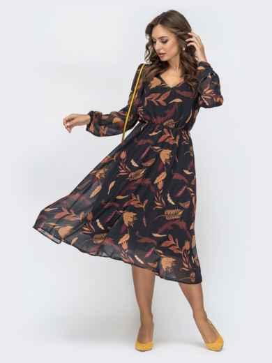 Шифоновое платье с принтом черное 45067, фото 1