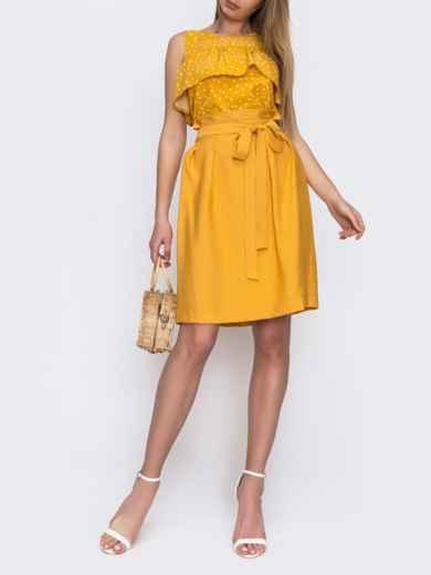 Юбка с вшитым поясом желтого цвета 48642, фото 2