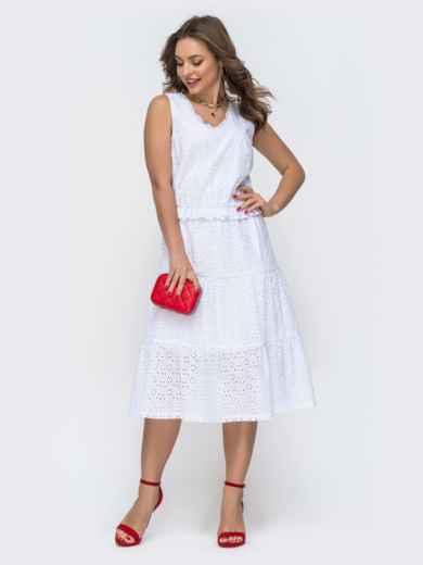 Белое платье из прошвы с многоярусной юбкой 46839, фото 1