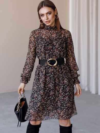 Черное платье из шифона в цветочный принт с воротником-стойкой 52861, фото 1
