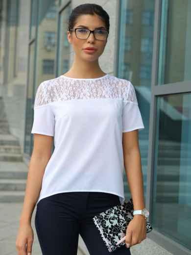 Блузка с кружевной кокеткой 10225, фото 2