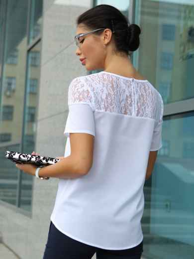 Блузка с кружевной кокеткой 10225, фото 3