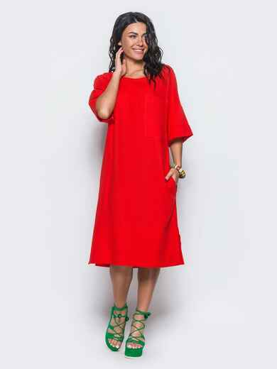 Льняное платье прямого кроя с накладным карманом красное 12550, фото 1