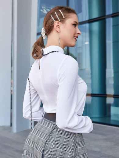 Белая блузка с кружевом на воротнике и манжетах 39894, фото 3