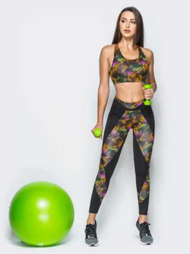 Комплект для фитнеса с лосинами и топом смешанного цвета 17166, фото 1