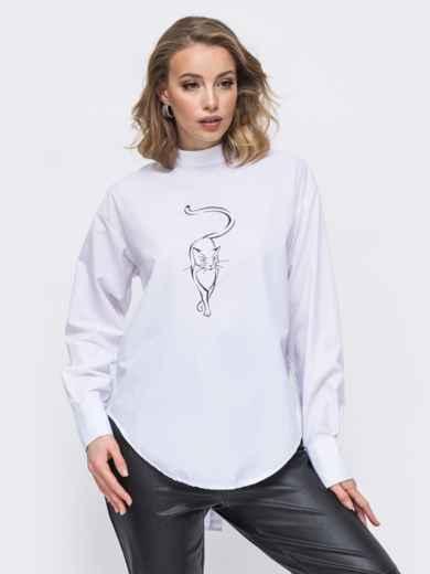 Белая рубашка с вышивкой и разрезом по спинке 45748, фото 1
