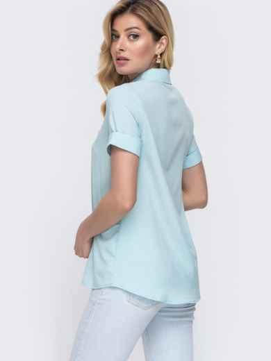 Голубая рубашка с коротким рукавом и супатной застёжкой 48597, фото 2