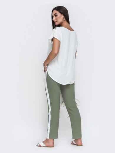 Комплект большого размера из блузки и брюк хаки 49583, фото 2