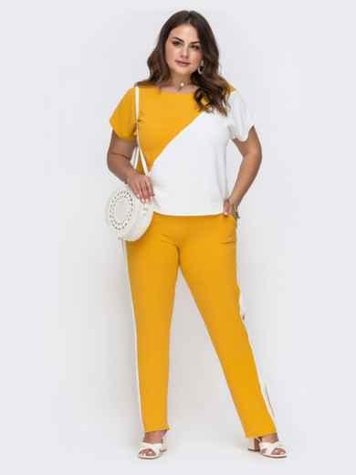 Комплект большого размера из блузки и брюк желтый 49582, фото 2