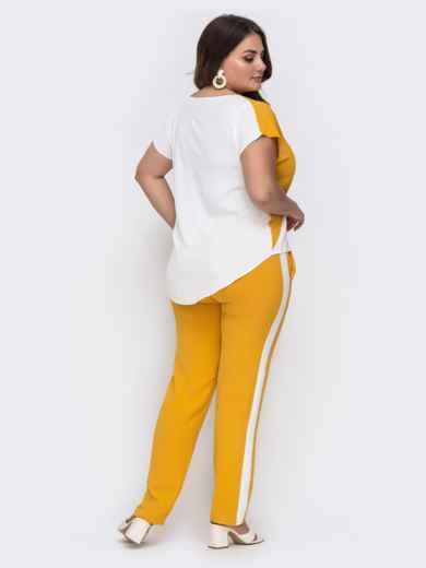Комплект большого размера из блузки и брюк желтый 49582, фото 3