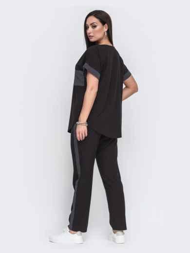 Комплект большого размера из чёрной футболки и брюк 49584, фото 2