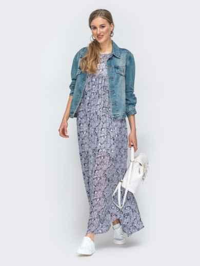Платье-макси из шифона с принтом и комбинацией серое 45734, фото 2