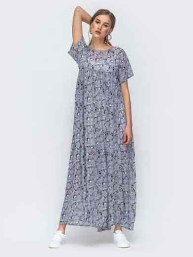 Платье-макси из шифона с принтом и комбинацией серое 45734, фото 3