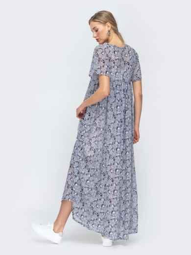 Платье-макси из шифона с принтом и комбинацией серое 45734, фото 4