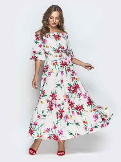 Платье-макси кремового цвета с принтом и открытыми плечами 39714, фото 1