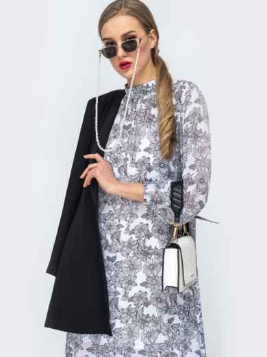 Серое платье из шифона с цветочным принтом 45732, фото 2
