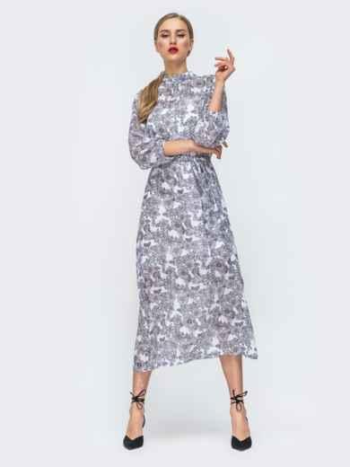 Серое платье из шифона с цветочным принтом 45732, фото 3