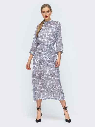 Серое платье из шифона с цветочным принтом 45732, фото 4