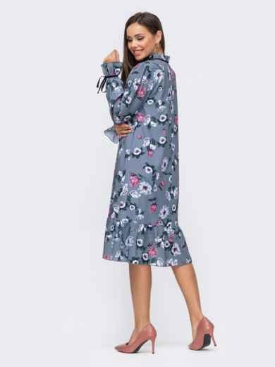 Серое платье-трапеция с принтом и воланом по низу 51183, фото 3