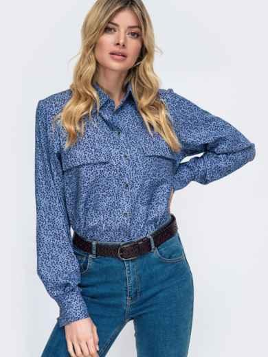 Синяя рубашка прямого кроя с принтом 45747, фото 2