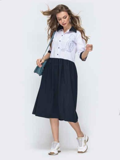 Свободное платье с вышивкой тёмно-синее 45737, фото 1