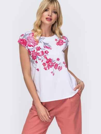 Белая блузка прямого кроя с цветочным принтом 49319, фото 1