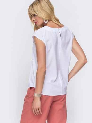 Белая блузка прямого кроя с цветочным принтом 49319, фото 2