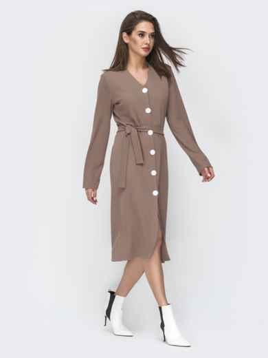 Бежевое платье-рубашка с V-вырезом 45007, фото 2