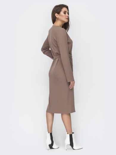 Бежевое платье-рубашка с V-вырезом 45007, фото 3