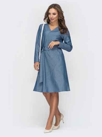 Голубое платье в полоску с V-вырезом 45008, фото 2