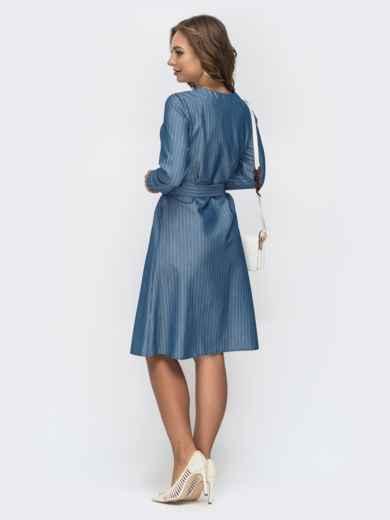 Голубое платье в полоску с V-вырезом 45008, фото 3